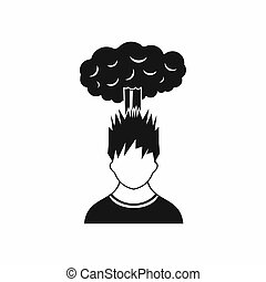 Man with red cloud over head icon, simple style - Man with...