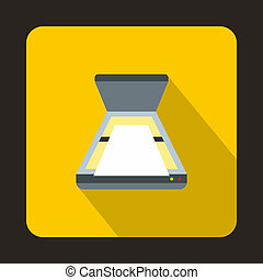 Open scanner icon, flat style - icon in flat style on a...