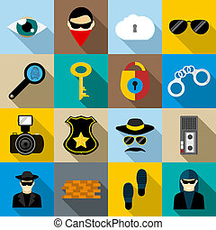 Spy icons set, flat style - Spy icons set in flat style for...