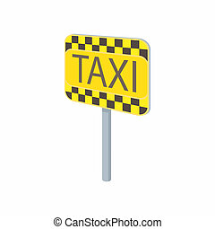 Taxi sign icon in cartoon style on a white background