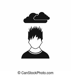 Depressed man with dark cloud over his head icon in simple...