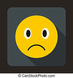 Sad emoticon icon, flat style - icon in flat style on a gray...