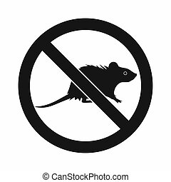 No rats sign icon, simple style - No rats sign icon in...