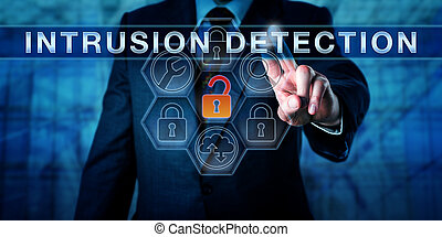 Businessman Pushing INTRUSION DETECTION - Businessman is...