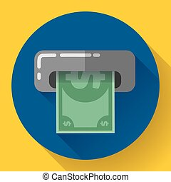 Getting money from an ATM bankomat card symbol icon Flat...
