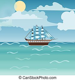Three masted sailing ship frigate transport. Sea an Ocean...