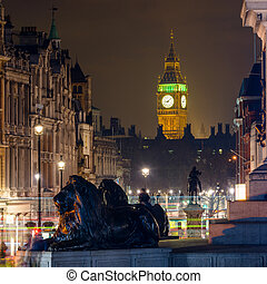 The Clock Tower seen from Trafalgar Square at night -...
