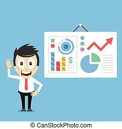 Happy businessman and presentation board with infographics...