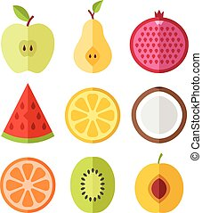 Vector fruits slices set. Icons set