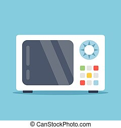 Vector microwave oven. White microwave isolated on blue...