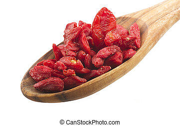 Goji berry - Wooden Spoon with Group of Goji berry