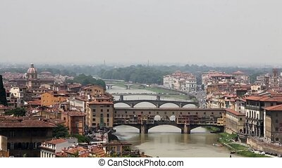 Timelapse of the famous Old Bridge of Florence, Tuscany,...