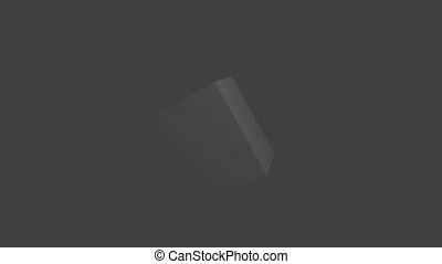 Twisting grey cube on grey background - On this footage is...
