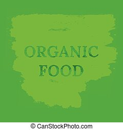 Organic food eco watercolor background. Grunge vector green...