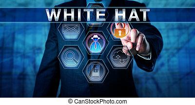 director, Empujar, sombrero, blanco, empresa / negocio