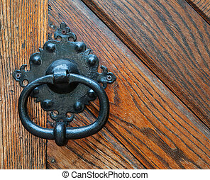 doorknob - antique doorknob on a wooden door