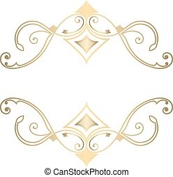 Ornate golden vector ornament for decoration.