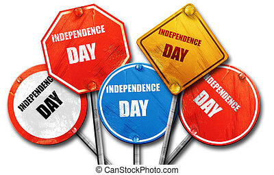Happy independence day, 3D rendering, rough street sign collecti