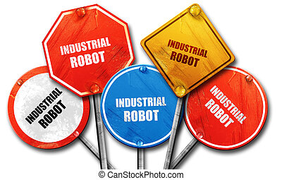 industrial robot, 3D rendering, rough street sign collection