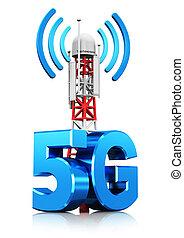sem fios, comunicação,  5g, conceito, tecnologia