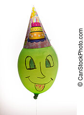 Colorful funny balloon on white background. Happy birthday -...