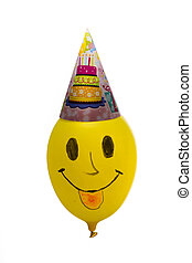 Colorful funny balloon on white background. Happy birthday