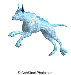 bizarre alien dog.3D rendering with clipping path and shadow over white