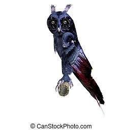 fantasy owl in dark blue colors. 3D rendering with clipping path and shadow over white