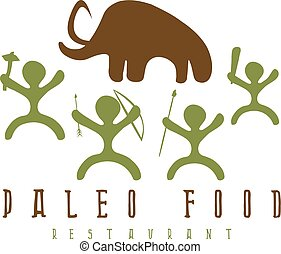 paleo food vector illustration with mammoth and cavemans