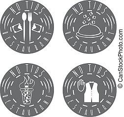 no tips restaurant vintage vector labels set