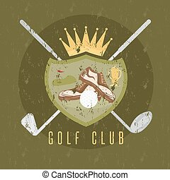royal golf club grunge coat of arms vector design template