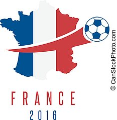 football european championship 2016 in France vector design template with map