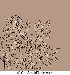 Beautiful roses isolated on light beige background Hand...