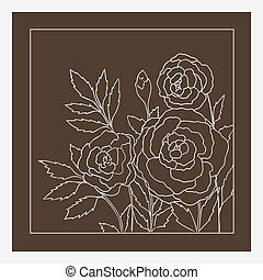 Beautiful roses isolated on dark beige background Hand drawn...