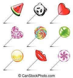 Lollipop icons vector set