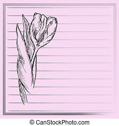 Graphic flower, sketch of tulip on pink background Vector...
