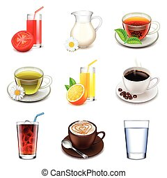 Non-alcoholic icons vector set - Non-alcoholic icons...