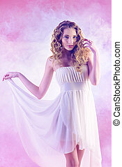 lightness - Beautiful romantic girl with wavy hair in light...