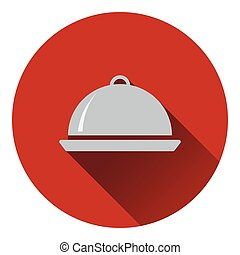 Restaurant  cloche icon. Flat design. Vector illustration.