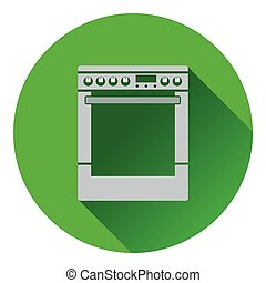 Kitchen main stove unit icon Flat design Vector illustration...