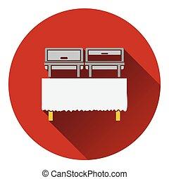 Chafing dish icon. Flat design. Vector illustration.