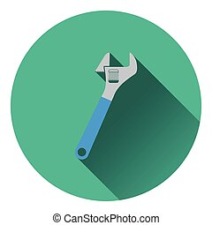 Icon of adjustable wrench. Flat design. Vector illustration.