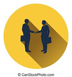 Icon of Meeting businessmen Flat design Vector illustration...