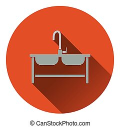 Double sink icon Flat design Vector illustration