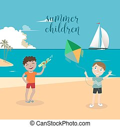 Children Sea Vacation. Boys Playing on the Beach. Vector illustration