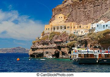 Old Port of Fira, main town Santorini, Greece - Mesa Gialos,...