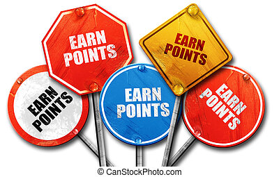 earn points, 3D rendering, rough street sign collection