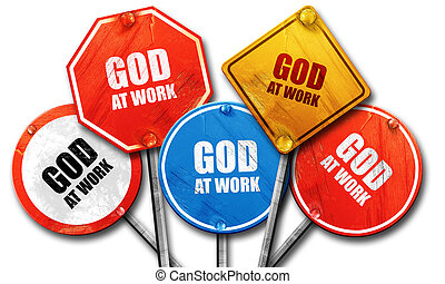 god at work, 3D rendering, rough street sign collection