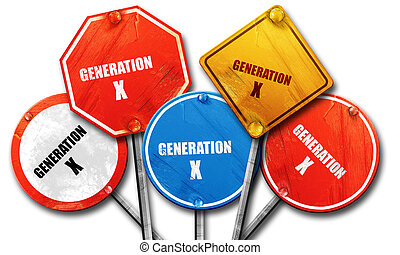 generation x word, 3D rendering, rough street sign collection