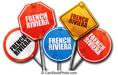 french riviera, 3D rendering, rough street sign collection